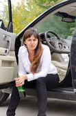 Belligerent drunk woman — Stock Photo