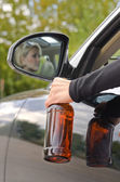 Drunk woman driver — Stock Photo