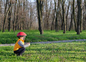 Little boy playing outdoors in woodland — Stock Photo