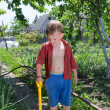 Stock Photo: Young boy working in the vegetable garden