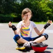 Pretty young teenager sitting meditating — Stock Photo