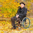 Portrait of a handicapped man in his wheelchair — Stok fotoğraf