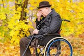 Despondent despairing senior amputee — Stock Photo