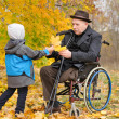 Young child giving an elderly man autumn leaves — Stock Photo