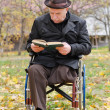 Handicapped elderly man in a wheelchair — Stock Photo