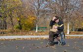 車椅子の孤独な障害者男 — ストック写真
