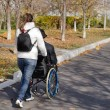 Carer taking a disabled man for a walk — Стоковое фото