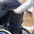 Stock Photo: Woman pushing a disabled man in a wheelchair