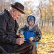 Elderly man with his grandson in the park — Stock Photo