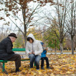Senior man planning his next chess move sitting in park banch — Stock Photo