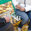 Elderly man a game of chess with woman sit together on a wooden park bench — Stock Photo