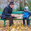 Grandfather playing chess with his little boy — Stock Photo #35045199