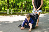 Little boy waiting with his mother — Stock Photo