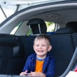 Laughing little boy sitting in the back of a car — Stock Photo