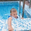 Young boy in swimming pool — Stock Photo