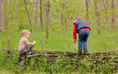 Two young boys playing on a rustic fence — Stock Photo