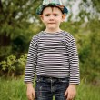 Happy little boy in a colorful blue hat — Stock Photo #48207179