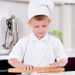 Happy little chef making homemade pizza — Stock Photo #51195083