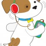Cute Puppy Headphones — Stock Vector