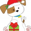 Christmas Puppy - Stock Vector