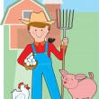 Farmer and Pig — Stock Vector
