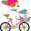 Cute Puppy on Bike — Stock Vector