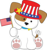 Puppy Patriotic — Stock Vector