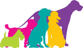 Dog Silhouettes Colour — Stock Vector