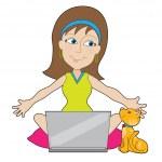 Happy Laptop Lady — Stock Vector #25369537