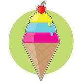 Cornet de crème glacée — Vecteur