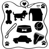 Dog Stuff Silhouettes — Stock Vector