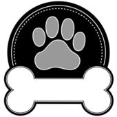 Dog Bone and Paw — Stock Vector
