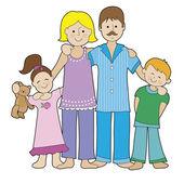 Family in Pajamas — Stock Vector