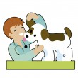Puppy and Vet — Stock Vector