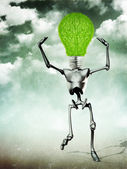 Humanoid with light bulb head — Stock Photo