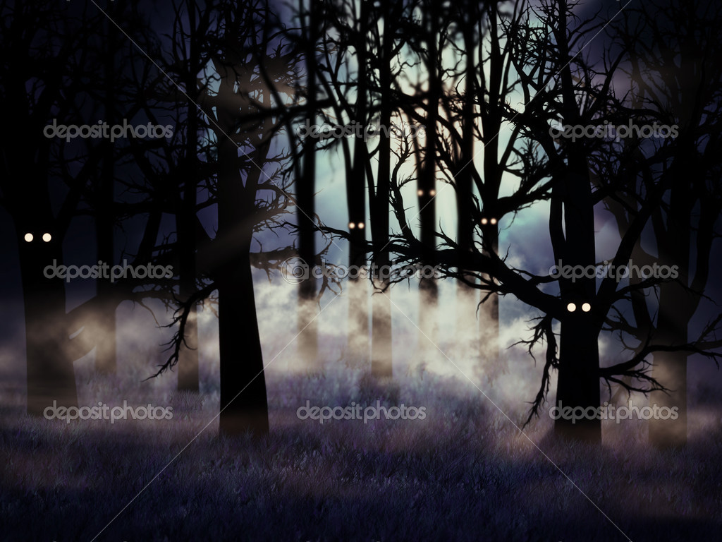 Abstract illustration of spooky foggy forest at halloween night. — Stock Photo #12639773