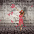 Flower girl dancing — Stock Photo