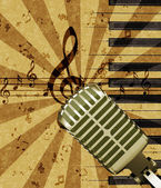 Grunge music background with microphone — Stock Photo