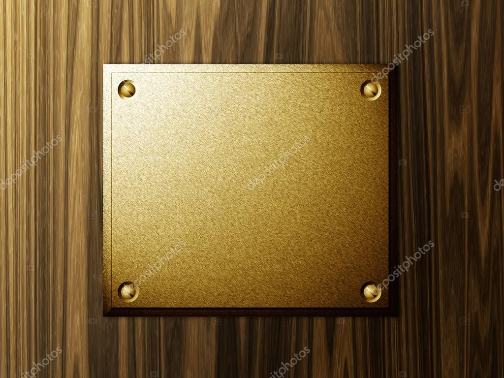 Abstract metal plate on wood background template. — Stock Photo #13124716