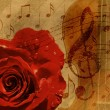 Music rose background — ストック写真