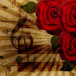 Music roses and piano background — Stockfoto