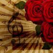 rosas de música e piano fundo — Foto Stock
