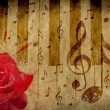 Rose and music notes — Foto Stock