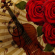 Music roses and violin background — Stok fotoğraf
