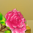 Stock Photo: Pink roses and gift box