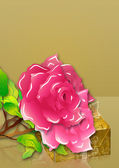 Pink roses and gift box — Stock Photo
