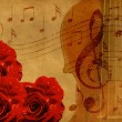 Music roses and violin background - Stock Photo