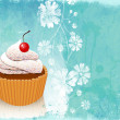 Retro card with cupcake — Stock Photo