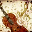 Rose pentals and violin — Stock Photo