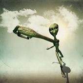 Alien hold something — Stock Photo